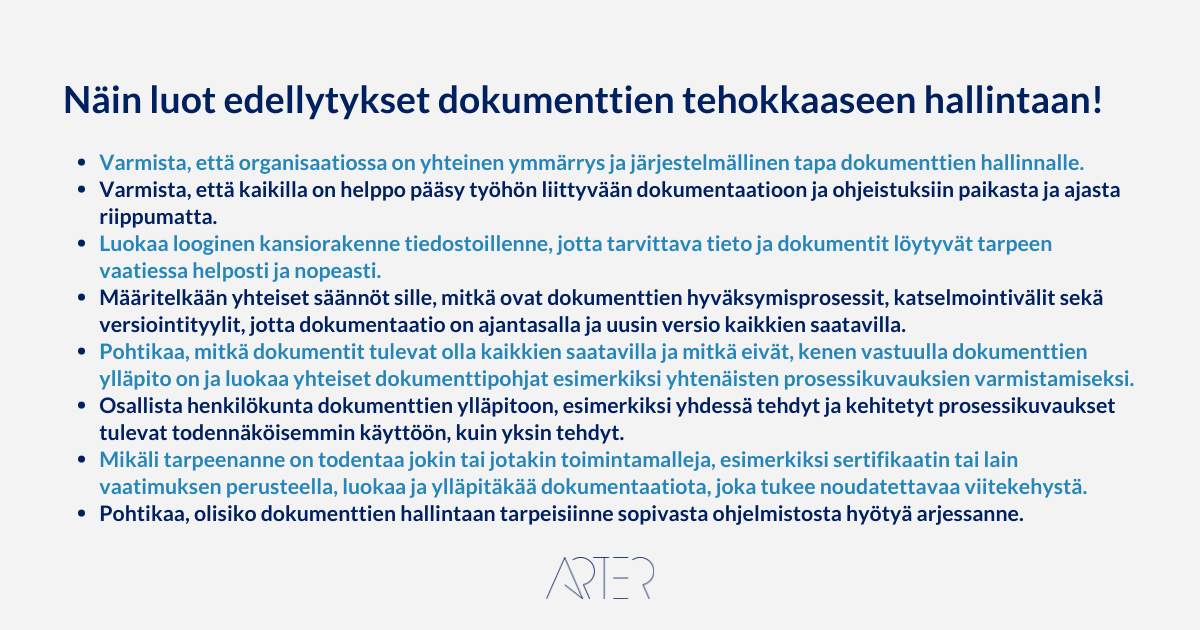 Näin luot edellytykset dokumentaation tehokkaalle hallinnalle, Arter Oy