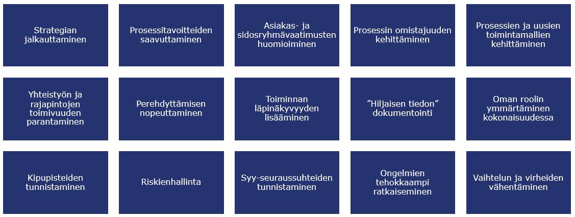 Esimerkkejä prosessien kuvaamisen tarkoituksista, Arter Oy