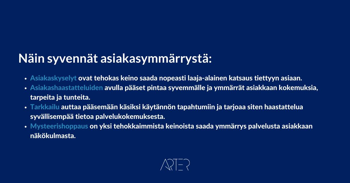 Kuinka syventää asiakasymmärrystä, Hanna Ahtola, Arter Oy