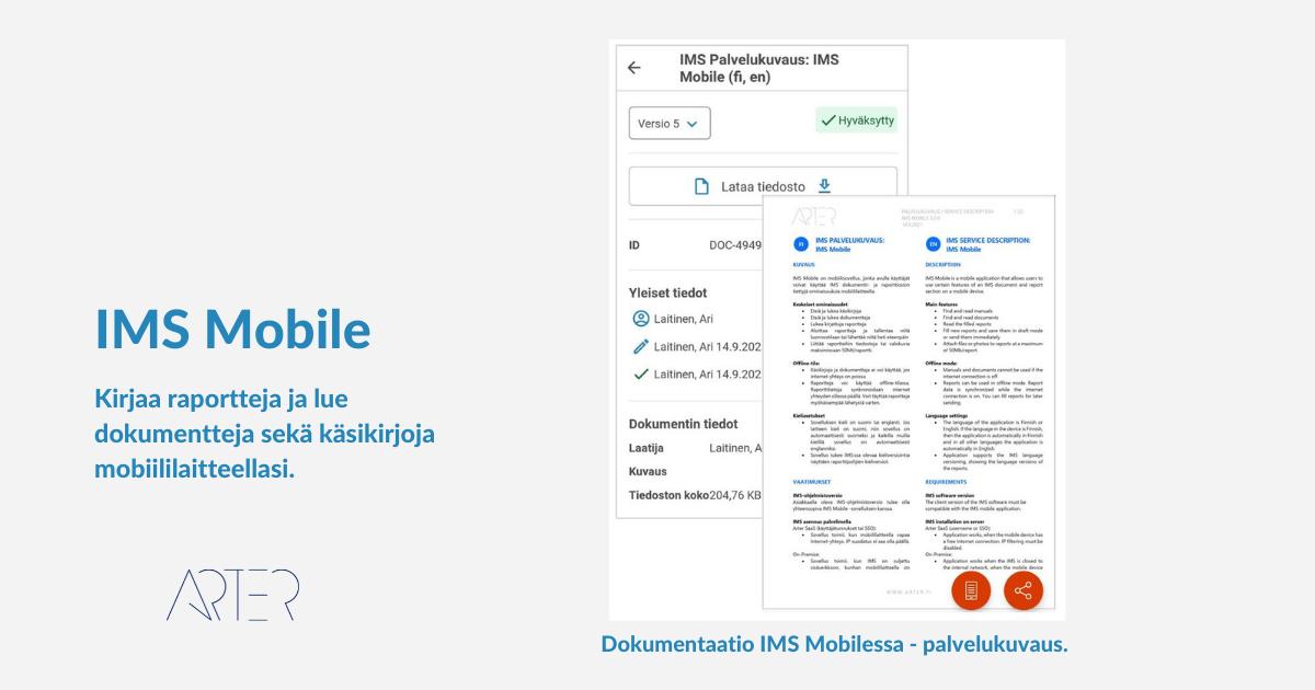 IMS Mobile - IMS-ohjelmiston mobiilisovellus, Arter Oy